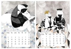 SALE limited illustrated 2013 wall calendar a5 art calendar. €10.00, via Etsy.
