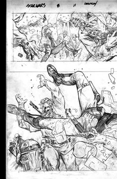 Stuart Immonen - The sprawling double-page spread on pages 11 and 12 of Star Wars issue #8