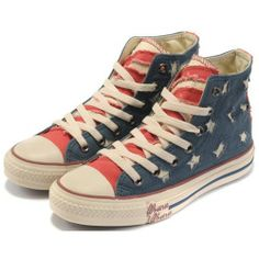Converse Shoes Blue Red American Flag Rag All Star Classic Canvas Hi  Sneakers - € 372f24332857