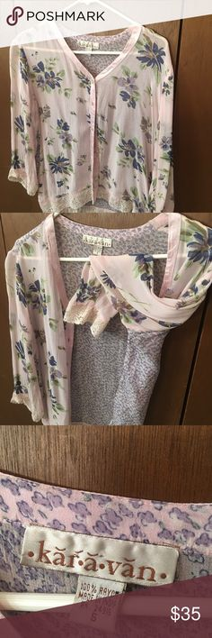 Rayon blouse gorgeous Pink and blue and green with lace, whats not to love - 100% Rayon made in India kar a van Karavan Tops Blouses