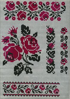 FolkCostume&Embroidery: Search results for pattern Cross Stitch Rose, Cross Stitch Borders, Cross Stitch Flowers, Cross Stitch Charts, Cross Stitch Designs, Cross Stitching, Cross Stitch Patterns, Folk Embroidery, Cross Stitch Embroidery