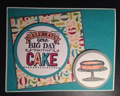 February Stamp Camp - Card #3 Big Day stamp set.  Colors are Bermuda Bay, Basic Gray, Rose Red, Crisp Cantaloupe, Smoky Slate.