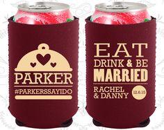 Eat Drink and Be Married, Neoprene Wedding, Country Wedding, Picnic Wedding, Outdoor Wedding, Neoprene Wedding Favors (421)