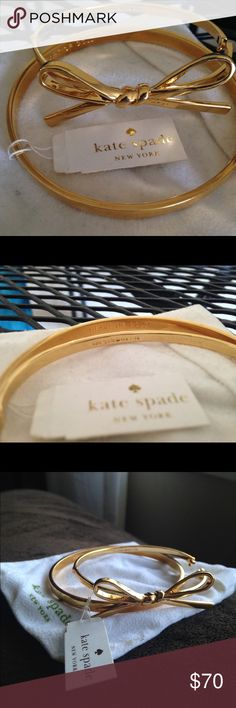 Kate Spade heart of gold idiom & bow bracelet set Brand new, never worn gold Kate spade bracelet set with tags kate spade Jewelry Bracelets