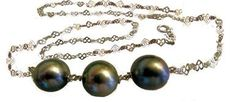 Tahitian Pearls- 3 round on silver chain- necklace.