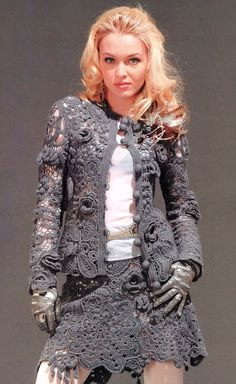 CROCHET FASHION TRENDS exclusive gray crochet two-piece suit (jacket skirt) - irish lace - made to order
