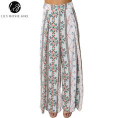 b0da2605a1 Lily Rosie Girl Bohemian Women Wide Leg Pants Summer Beach Casual High Waist  Long Trousers Floral Print 2018 Female Pant Trouser