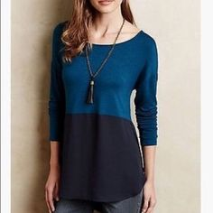 """Anthropologie Mela Top Mela Colorblocked Top in a beautiful shade of teal and navy blue.  By Meadow Rue Rayon, spandex; woven polyester hemline Machine wash Dimensions Regular: 32""""L Anthropologie Tops"""