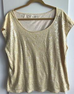 8b2c1ef7597e4 ANN TAYLOR LOFT XL Yellow Sequence Short Sleeve Blouse 100% Cotton   AnnTaylorLOFT  KnitTop