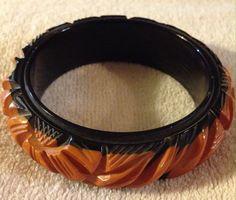 Deeply Carved Rich Butterscotch And Black Bakelite Bangle Bracelet
