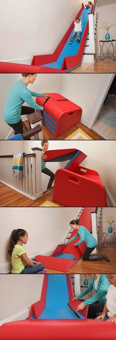 SlideRider: The brainchild of Trisha Cleveland from Minneapolis, MN, who submitted her idea to Quirky.com - and is now waiting to see if it will be picked up by developers. http://www.dailymail.co.uk/femail/article-2635227/Whee-Clever-fold-mat-turns-stairs-SLIDE-adults-want-kids.html #Toys #Indoor_Slide