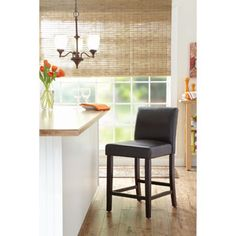 """Better Homes and Gardens 24"""" Parsons Bar Stool, Brown This barstool has durable faux leather and an espresso finished frame."""
