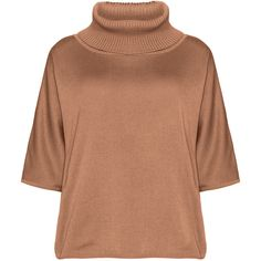 Isolde Roth Light-Brown Plus Size Cotton blend turtleneck ($100) ❤ liked on Polyvore featuring tops, sweaters, plus size, womens plus size sweaters, plus size tops, polo neck sweater, plus size turtleneck and loose turtleneck sweater