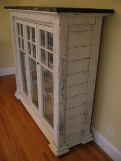 Made from old windows..... Love the look of the side..... Fire place mantle   ...?