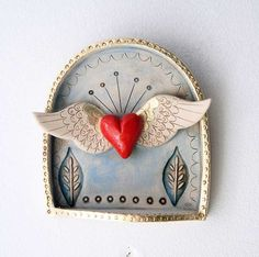 Winged Heart Shrine-Valentine's Day gift by jolucksted on Etsy Ceramic Pendant, Ceramic Art, Valentine Day Gifts, Valentines, Mermaid Sculpture, Tin Art, Paperclay, Assemblage Art, Mexican Folk Art