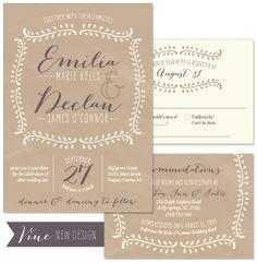Vine Wedding Invitation in Fawn and Smoke | by The Green Kangaroo, Inc.