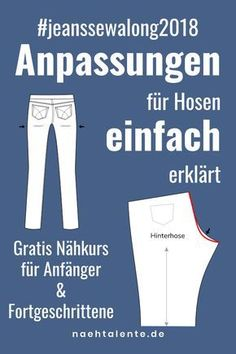 Sewing Jeans Part Fit Changes for Pants Nähtalen .- Pattern adjustments for pants and jeans. In Jeans Sew Along we present all the changes that show you how to sew a well-fitting pair of jeans yourself. Sewing Hacks, Sewing Tutorials, Sewing Tips, Sewing Jeans, Diy Mode, Susa, Leftover Fabric, Sewing Projects For Beginners, Diy Projects