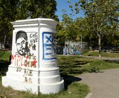 If it doesn't move, it will be painted. There's street art *everywhere*. This in the park in Villa Crespo.