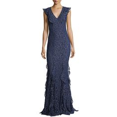 Zac Zac Posen Josephine V-Neck Ruffled Lace Evening Gown (€780) ❤ liked on Polyvore featuring dresses, gowns, french blue, blue dress, blue ball gown, deep v neck dress, lace gown and deep v-neck dress