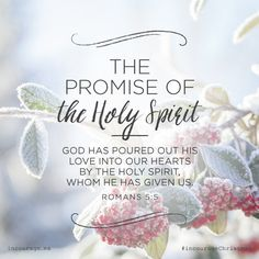 "The Promise of the Holy Spirit // ""God has poured out His love into our hearts by the Holy Spirit, whom He has given us."" {Romans God bless you Pattie. Bible Verses Quotes, Bible Scriptures, Biblical Quotes, Jesus Quotes, Jesus Is Lord, Christian Inspiration, Biblical Inspiration, Spiritual Quotes, Religious Quotes"