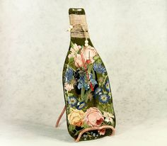 CREATIVE BOTTLE with a CLOCK #glass #fusing techniques Bottle is made of glass and painted by author. Fine work from glass in fusing technique is one of the best gift ideas t... #fused #murano #home #art