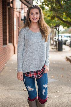 Heart Shaped Box Sweater, Gray