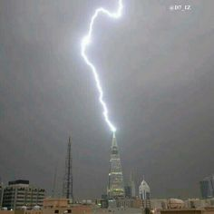 Riyadh Flood Ksa Saudi Arabia, Riyadh, Lightning, Art Photography, Tower, Building, Travel, Eclairs, Awesome
