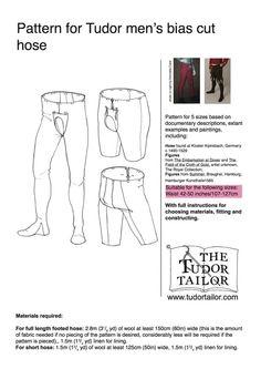 Men's Patterns | The Tudor Tailor