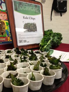 Will Elementary Students eat Kale? They do in Farmington, CT; Resident Dietitian Aliza Stern RD taste tested Kale Chips and the kids gave two thumbs up!