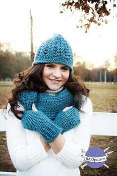 Leslie 3 piece set Hat, Cowl and Fingerless Gloves Crochet PATTERN Multiple sizes