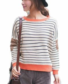 """Tobey Stripe Batwing Loose Round Neck Long Sleeve Pullover Cardigan Retro Kintted Sweater Hoody Hoodie Tops Jumper For Women Girl Lady, Comes with """"eYourlife2012"""" Store Necklace (Off-white), http://www.amazon.com/dp/B00EUWNAYW/ref=cm_sw_r_pi_awdl_LQNWsb0GX051X"""