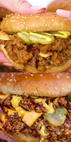 Bacon Cheeseburger Sloppy Joes [video] - Sweet and Savory Meals Bacon Cheeseburger Sloppy Joes are delicious American-style sandwiches loaded with perfectly flavored ground beef, crispy bacon slices and melted cheddar cheese. Hamburger Recipes, Ground Beef Recipes, Meat Recipes, Cooking Recipes, Healthy Recipes, Healthy Drinks, Meatball Recipes, Dinner Recipes, Beste Burger