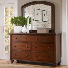 Cambridge Wood Seven Drawer Dresser in Brown Cherry by Aspenhome
