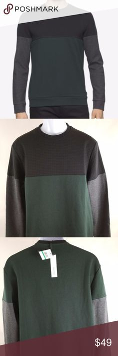 "NWOT Calvin Klein Men Green Sweater Size L Size: L Color: Dark green Style: Crew-neck Material: 84% Cotton 16% polyester Measurement laying flat Armpit to armpit: 23"" Length: 29 "" Sleeve: 27"" M92005  *** No trade sorry!!! Thank you for checking my closet, please let me know if you have any questions and we can work on it❤️ @heather0408 Calvin Klein Sweaters"