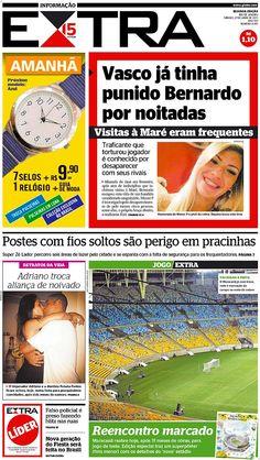 27-04-2013 - Capas do Jornal Extra - Primeira página do Jornal Extra do Rio - Extra Online