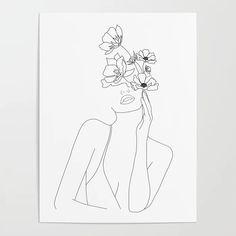 Art And Illustration, Flowers Illustration, Floral Illustrations, Space Drawings, Art Drawings, Line Drawing, Drawing Sketches, Drawing Art, Drawing Ideas