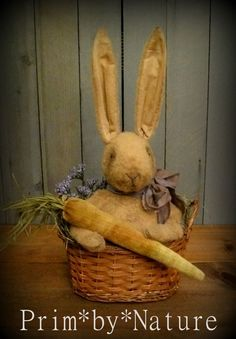 Primitive Bunny Rabbit Greeter with Lavender Bow and Velvet Carrot in a Basket  #NaivePrimitive #PrimbyNature