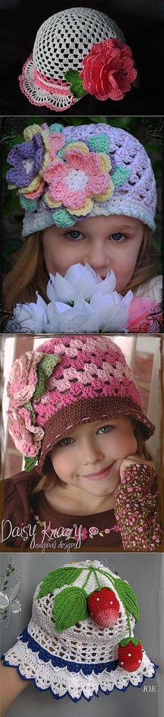 Los sombreros de señora-panameñas infantiles por el gancho. La elección.