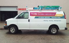 Bright colors and simple graphics make a bold statement on this utility van for a local HVAC company.