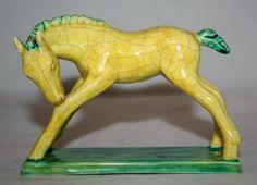 Goldscheider Austria Yellow Crackle  Pottery Horse by Matula