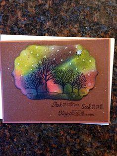 Handmade card/aurora borealis/religious/ask, seek, find/distress inks/northern lights