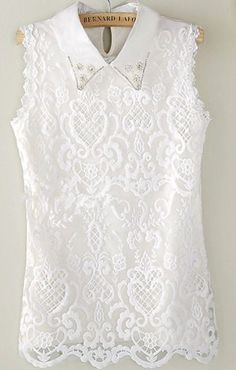 pearl collar lace blouse