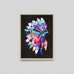 Vibrant Headdress | Black | Framed Print | Matthew Thomas