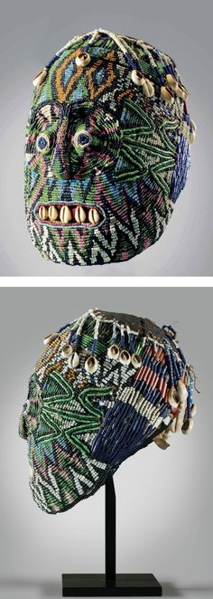 Africa | Beaded head ~ atwonzen ~ from the Dschang region, West Bamileke, Cameroon | Wood core, covered in fabric embroidered with glass beads and cowrie shells | ca. 19th century