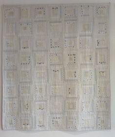 log cabin variation in white kimono fabric. apiecefullife.blogspot.com.au