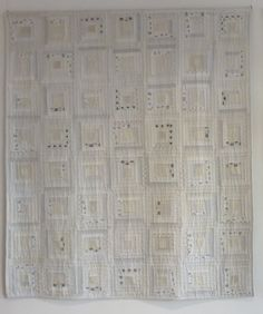 log cabin variation in white kimono fabric. apiecefullife.blogspot.com.au