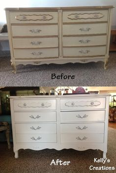 White and silver French Provincial dresser before and after pictures. Refinished by Kelly's Creations. https://www.facebook.com/pages/Kellys-Creations-Refinished-Furniture/524028237619793