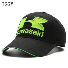 IGGY Black Caps Cool Blue green Motorcycle Racing embroideried kawasaki cap Hat MOTOGP baseball cap dad hat bone Casquette //Price: $11.00      #gadget