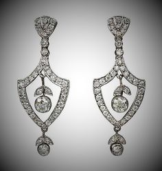 Edwardian Diamond Earrings. Circa 1915. Photo courtesy Kentshire