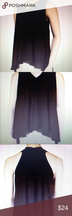 NWT Small Black Crepe Swing Top Stunning crepe swing top with a sexy pleated neck line in back. High-low hemline Lola Jones Tops Blouses